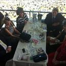 Derby Day at Flemington in the Peak restaurant ( L to R ) Tony Amadei, Clare Hawkes, Jane Barham, Chris Barham, Jane Hawkes and Jenny Hawkes